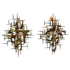 Pair of 1980s Jere Style Copper And Brass Wall Sculptures