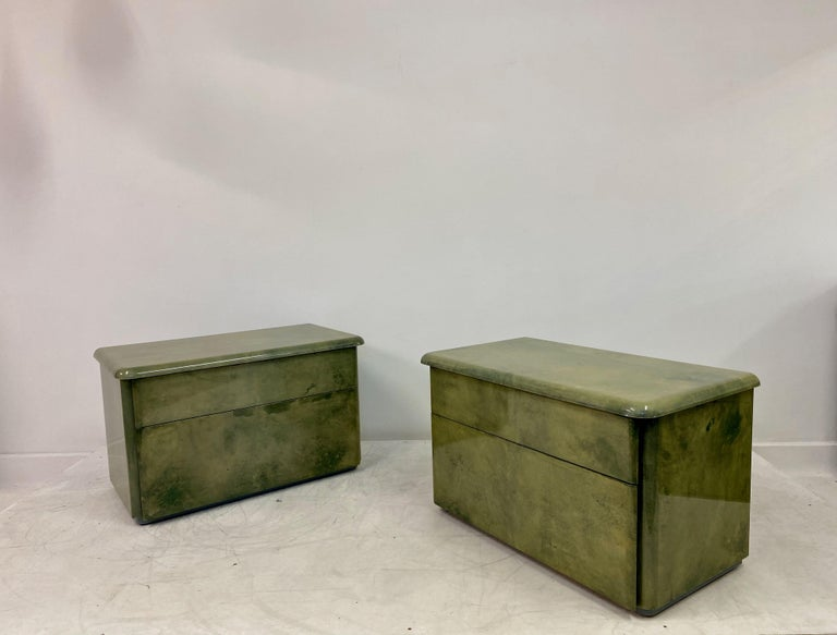 Pair of 1980s Lacquered Parchment or Goatskin Bedside Tables or Nightstands 4