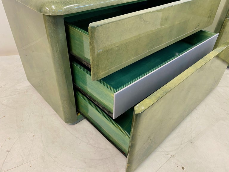 Pair of 1980s Lacquered Parchment or Goatskin Bedside Tables or Nightstands 1