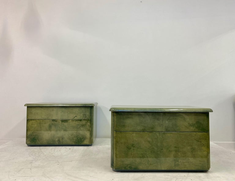 Pair of 1980s Lacquered Parchment or Goatskin Bedside Tables or Nightstands 2