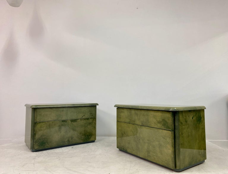 Pair of 1980s Lacquered Parchment or Goatskin Bedside Tables or Nightstands 3