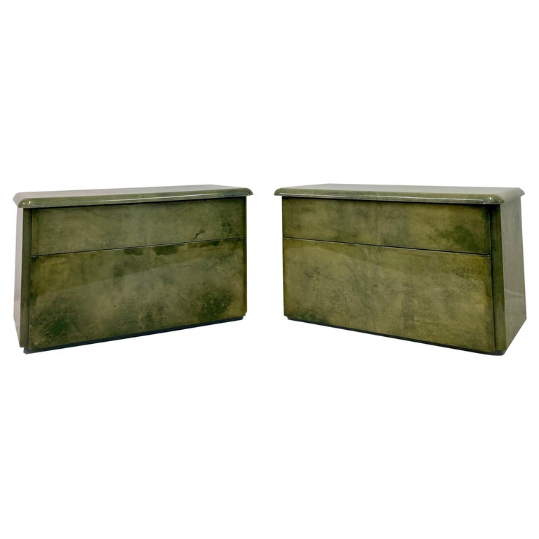 Pair of 1980s Lacquered Parchment or Goatskin Bedside Tables or Nightstands