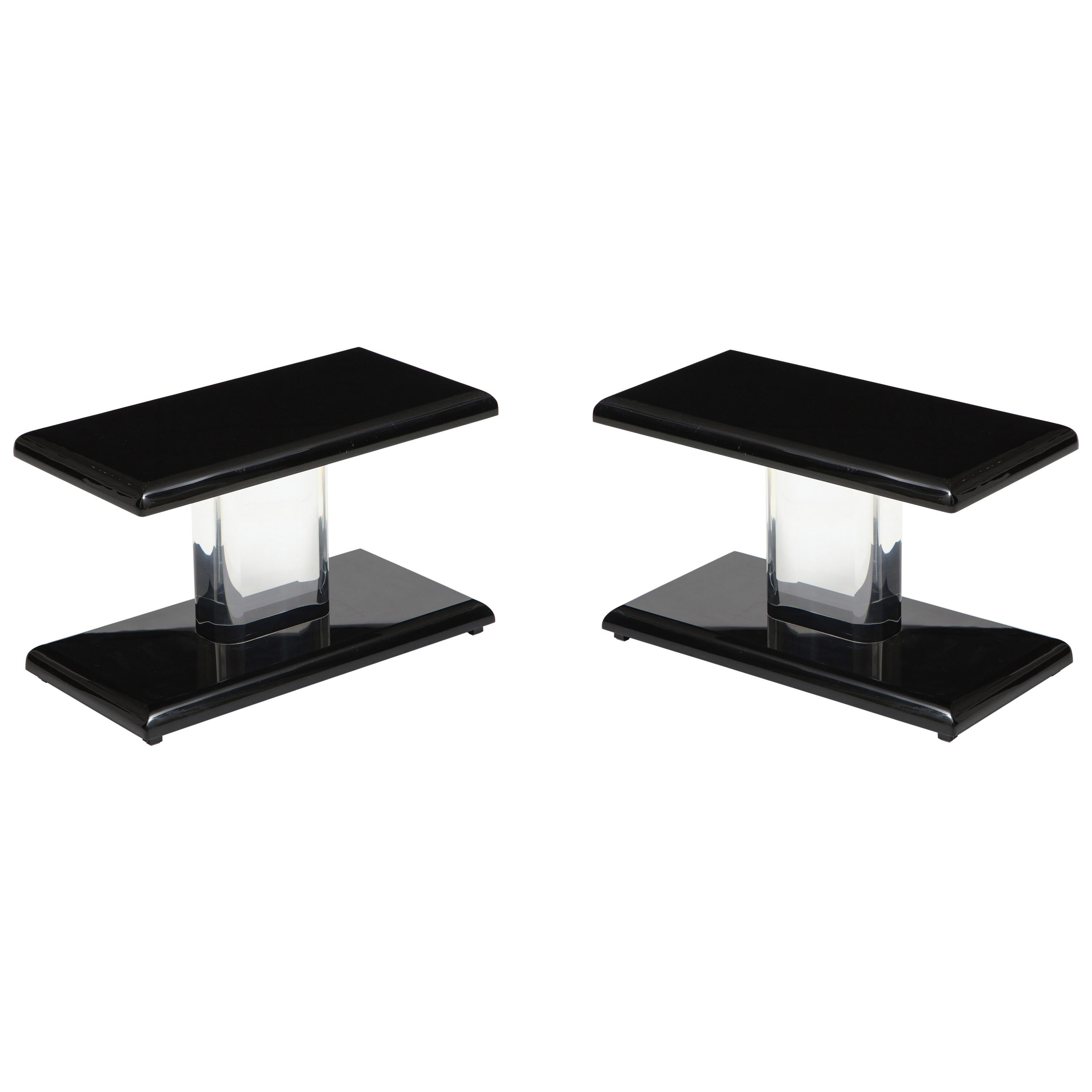 Pair of 1980's Lucite Tables