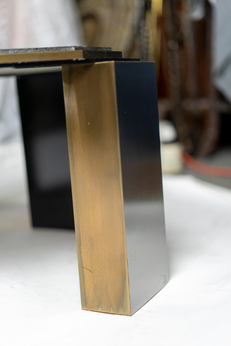 Pair of 1980's Modernist Low Tables in Enameled Steel and Patinated Brass For Sale 9