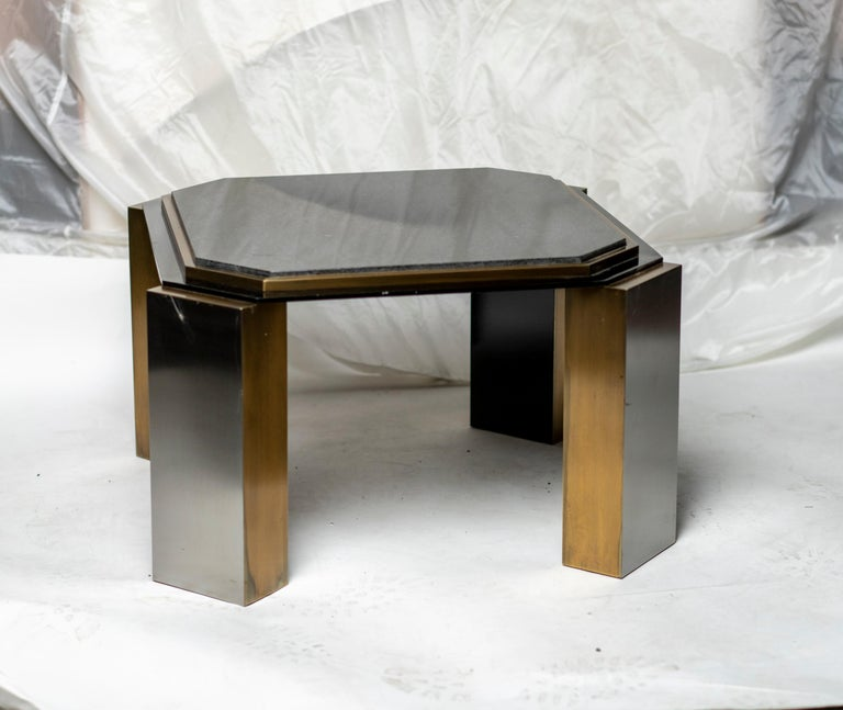 Pair of modernist black steel and polished brass square side tables inset black granite top