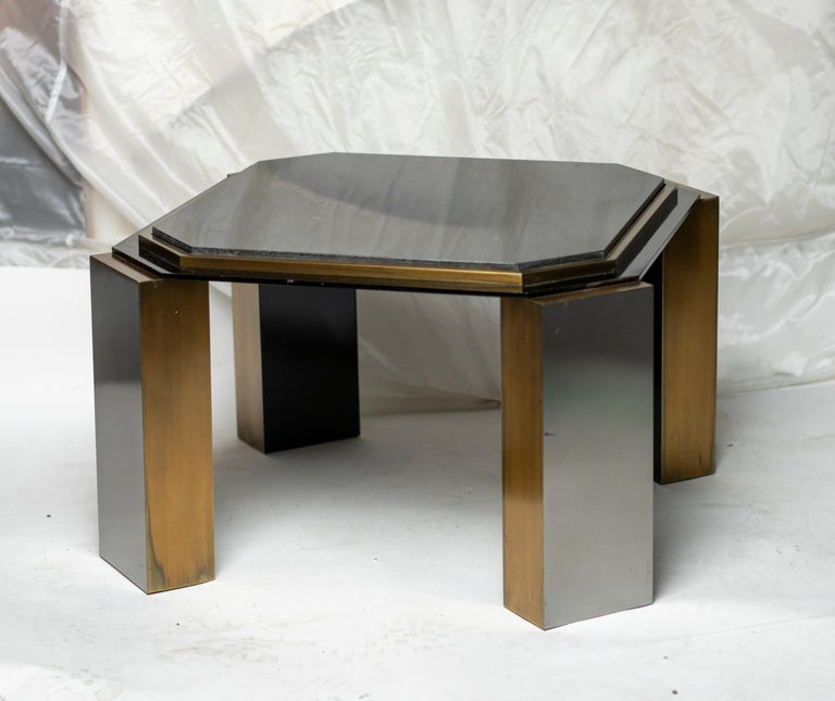 American Pair of 1980's Modernist Low Tables in Enameled Steel and Patinated Brass For Sale
