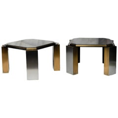 Pair of 1980's Modernist Low Tables in Enameled Steel and Patinated Brass