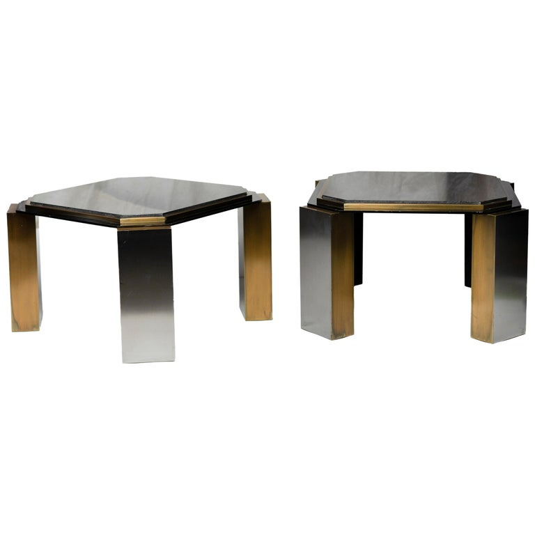 Pair of 1980's Modernist Low Tables in Enameled Steel and Patinated Brass For Sale