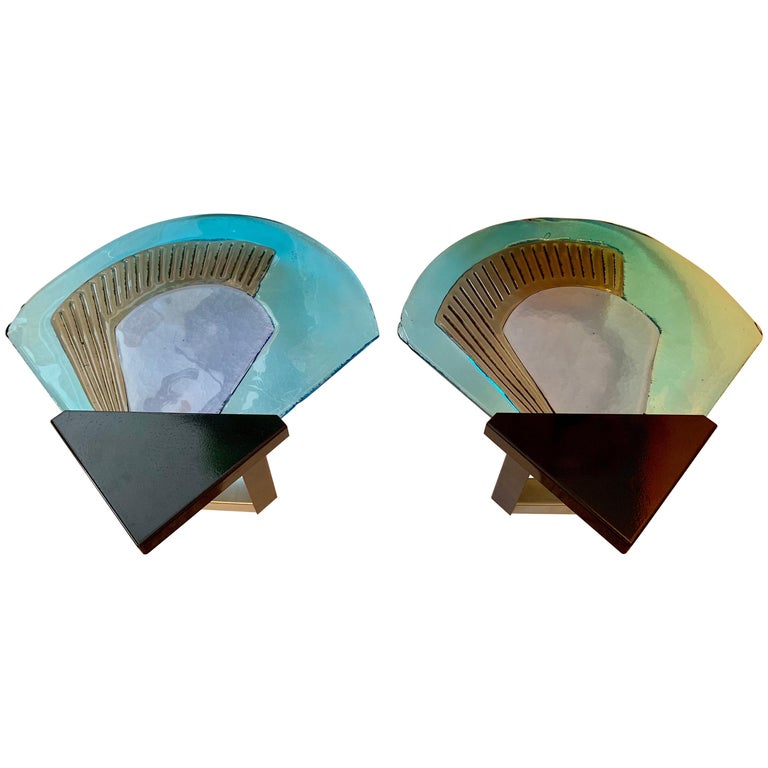 Pair of 1980s Murano Glass Itre Wall Lights For Sale