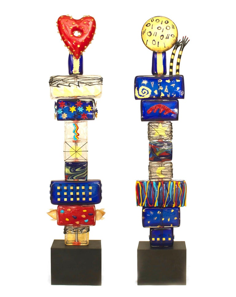 Pair of 1980s sculptures titled,