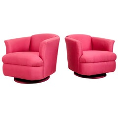 Pair of 1980s Pink Swivel Lounge Chairs