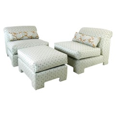 Pair of 1980s Rolled Back Slipper Chairs with Ottoman