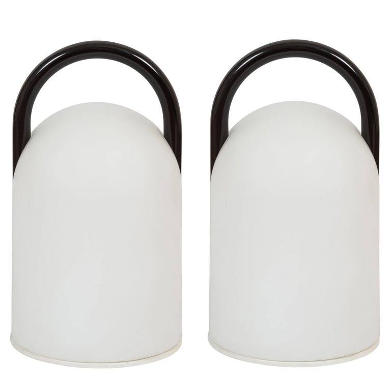 Pair of 1980s Romolo Lanciani Black 'Tender' Table Lamps for Tronconi