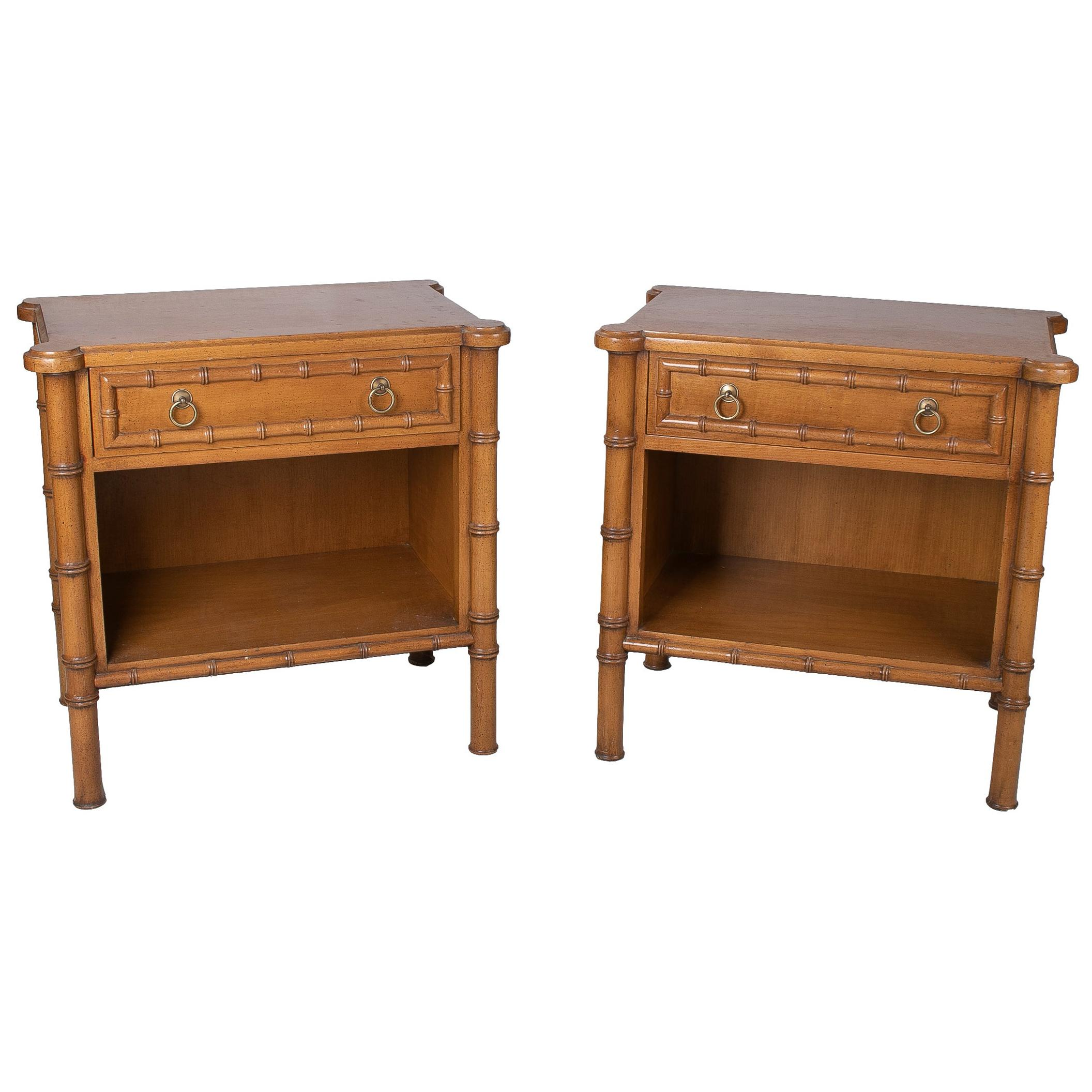 Pair of 1980s Spanish Faux Bamboo One Drawer Bedside Tables