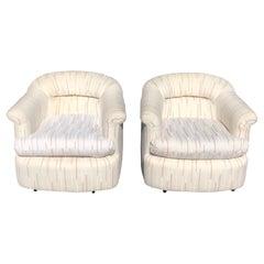Pair of 1980's Swivel Club Chairs