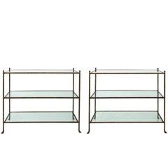 Pair of 1980s Three-Tier Glass Etageres