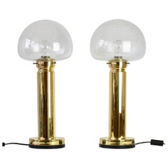 Pair of 1980s Vintage Limburg Style Domed Bubble Glass Table Lamps / Lights