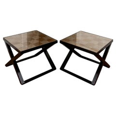 Pair of 1980s X-Base Gilt Top End Tables