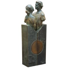 Pair of 1992 Limited Edition 226/3999 Bronze Lover Statues That Join Signed Mino
