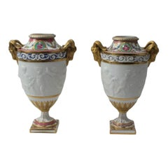 Pair of 19C Sevres Style Drilled Garniture Urns