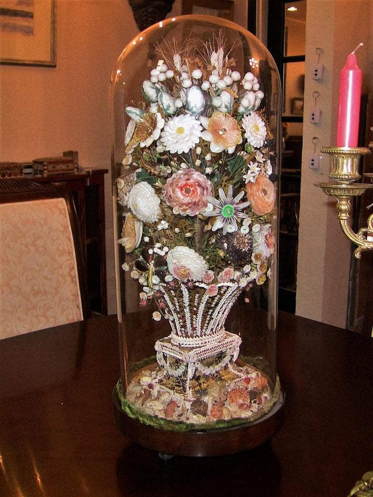 Pair of 19th Century Shell Art Floral Bouquets under Glass Domes For Sale 4