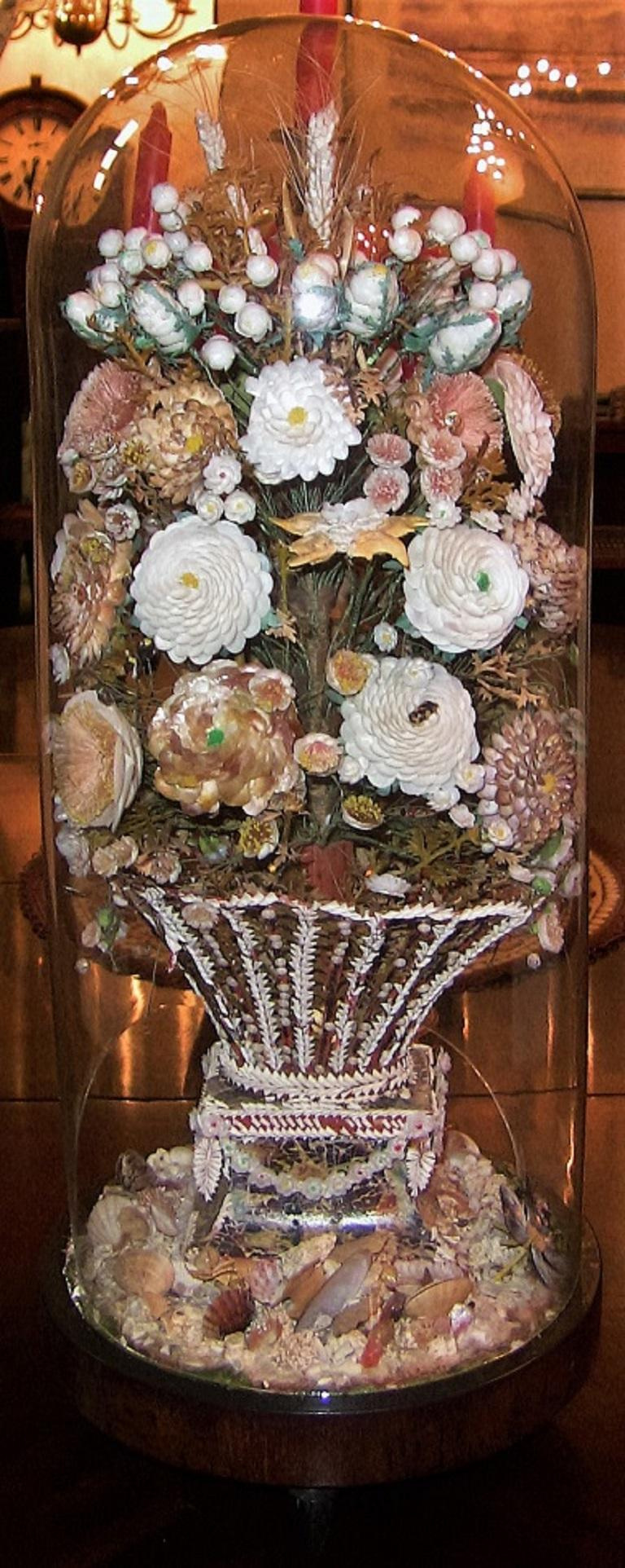 Pair of 19th Century Shell Art Floral Bouquets under Glass Domes For Sale 5