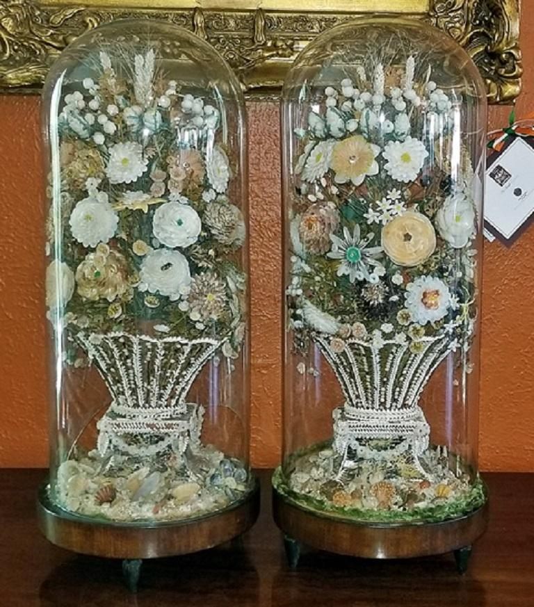 Pair of 19th Century Shell Art Floral Bouquets under Glass Domes For Sale 6