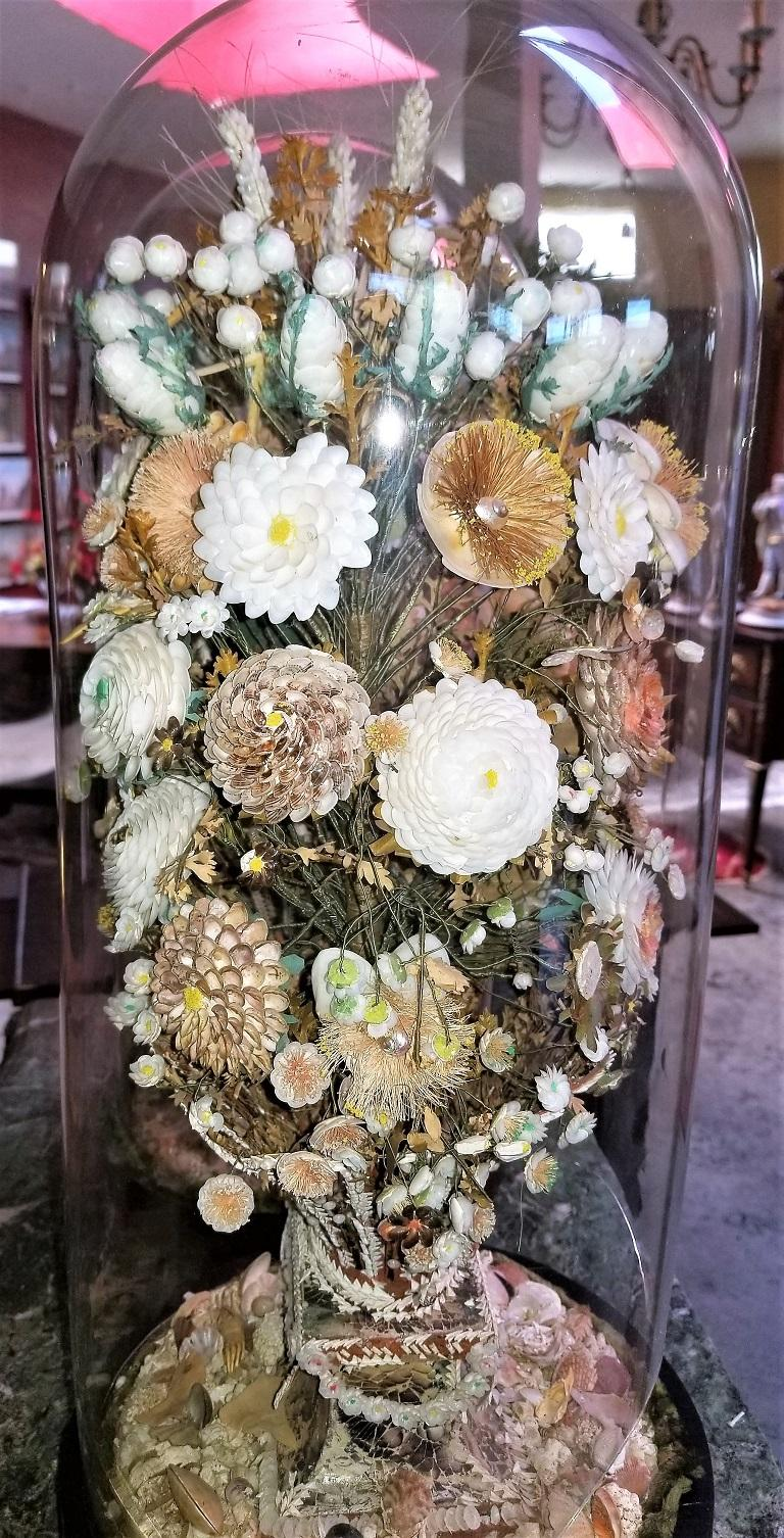 Pair of 19th Century Shell Art Floral Bouquets under Glass Domes For Sale 10