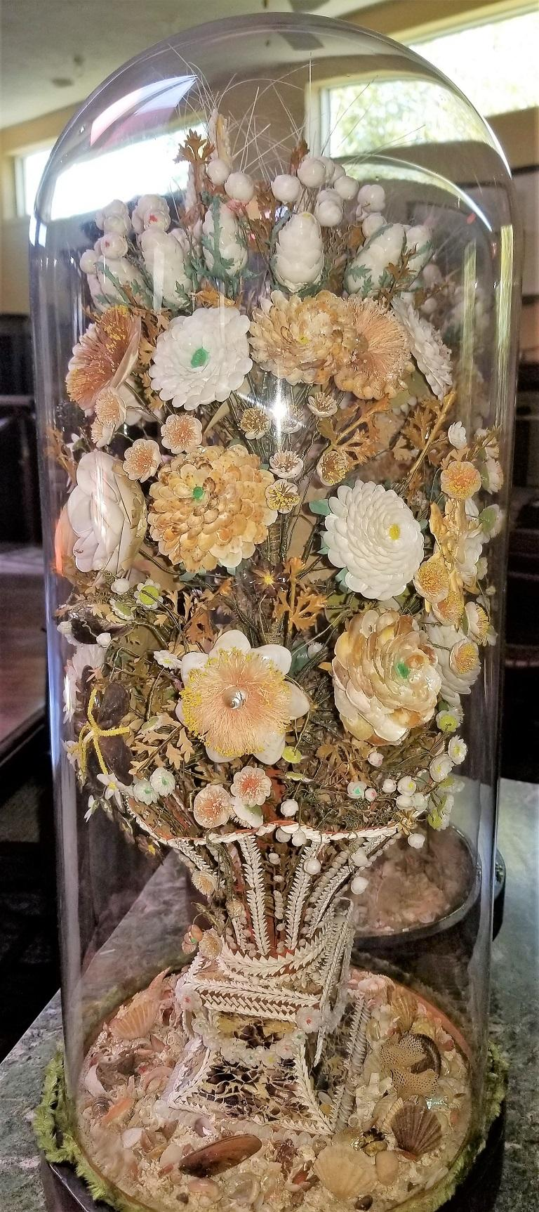 Pair of 19th Century Shell Art Floral Bouquets under Glass Domes For Sale 11