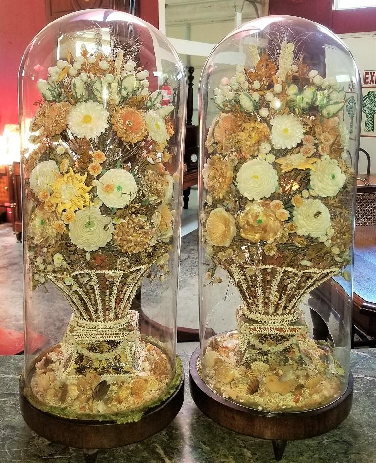 Pair of 19th Century Shell Art Floral Bouquets under Glass Domes For Sale 12