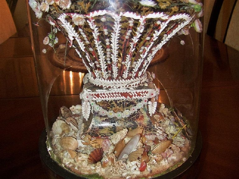 English Pair of 19th Century Shell Art Floral Bouquets under Glass Domes For Sale