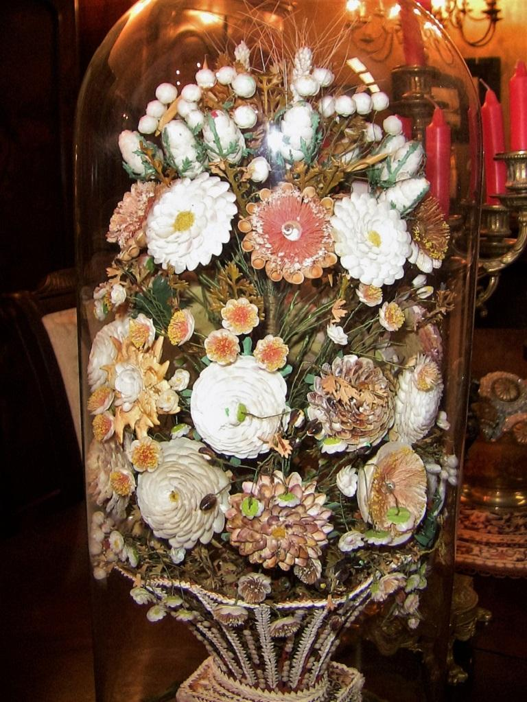 Pair of 19th Century Shell Art Floral Bouquets under Glass Domes For Sale 1