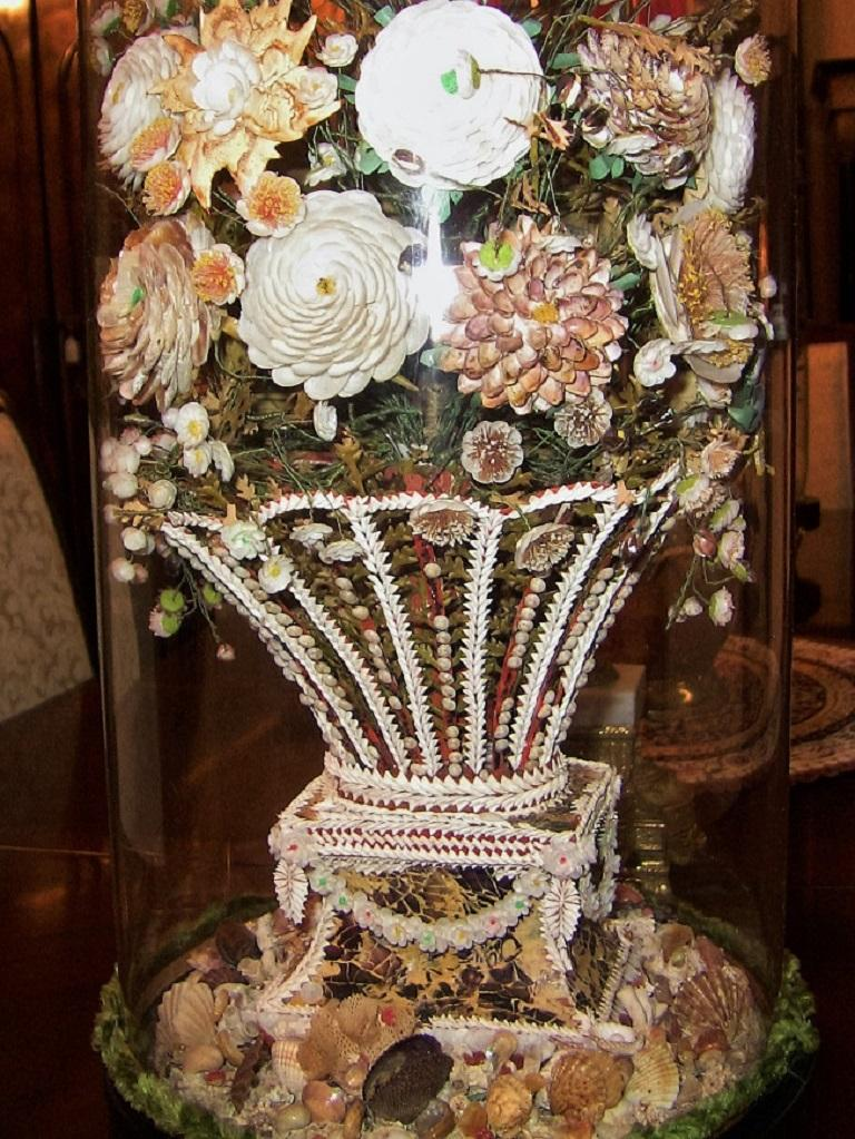 Pair of 19th Century Shell Art Floral Bouquets under Glass Domes For Sale 2