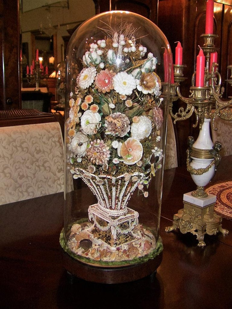 Pair of 19th Century Shell Art Floral Bouquets under Glass Domes For Sale 3