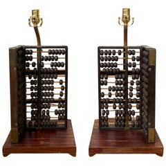 Pair of 19th-20th Century Abacuses as Lamps on Custom Bases