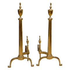 Pair of 19th-20th Century American Federal Style Brass Andirons