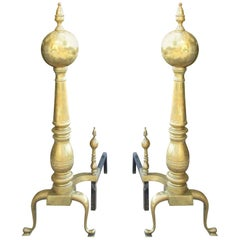 Pair of 19th-20th Century American Tall Brass Andirons