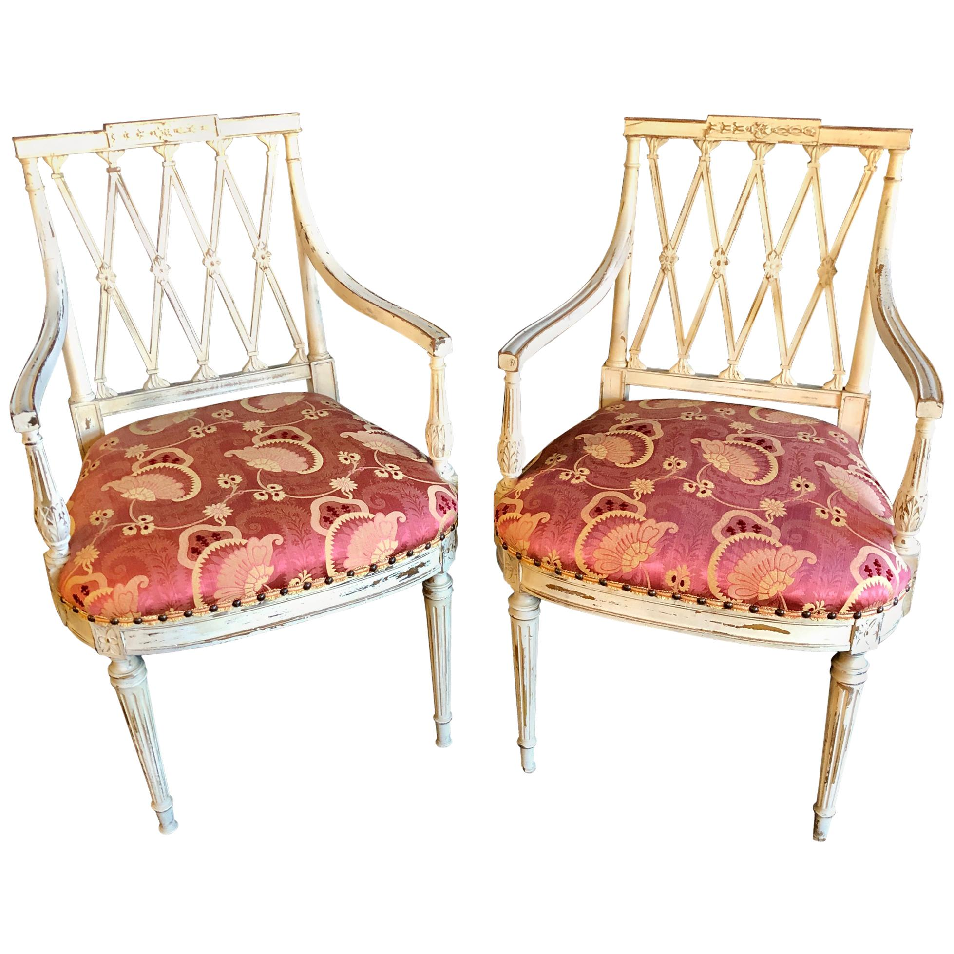 Pair of 19th-20th Century Armchairs in Scalamandre Upholstery Swedish Finish