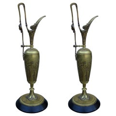 Pair of 19th-20th Century Bronze Ewers