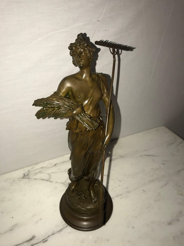 Pair of 19th/20th Century Bronze Figures Bare Breasted Female Gardeners For Sale 5