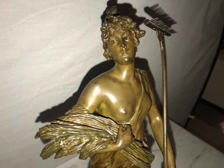 Pair of 19th/20th Century Bronze Figures Bare Breasted Female Gardeners For Sale 6