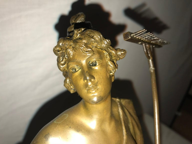 Pair of 19th/20th Century Bronze Figures Bare Breasted Female Gardeners For Sale 7