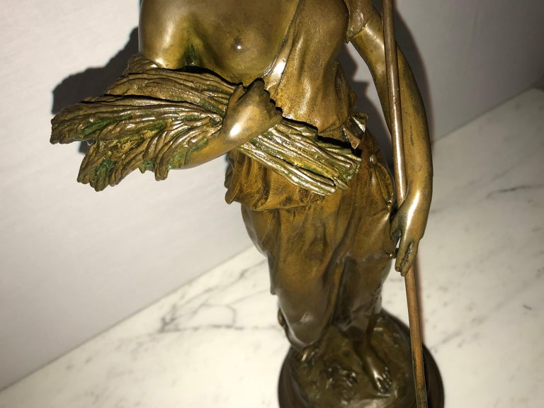 Pair of 19th/20th Century Bronze Figures Bare Breasted Female Gardeners For Sale 8