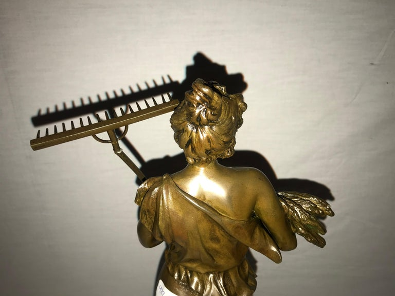 Pair of 19th/20th Century Bronze Figures Bare Breasted Female Gardeners For Sale 9