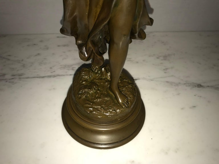 Pair of 19th/20th Century Bronze Figures Bare Breasted Female Gardeners For Sale 11