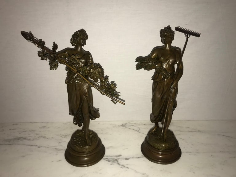 Pair of 19th/20th Century Bronze Figures Bare Breasted Female Gardeners For Sale 15