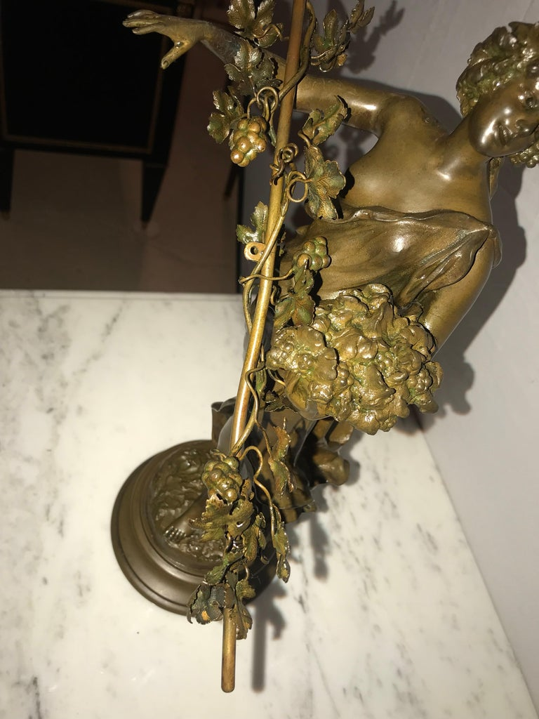 Pair of 19th/20th Century Bronze Figures Bare Breasted Female Gardeners For Sale 2