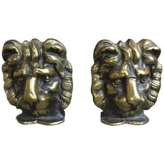 Pair of 19th-20th Century Bronze Lion Head Bookends