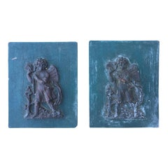 Pair of 19th-20th Century Carved Wood Blue Plaques with Puttis