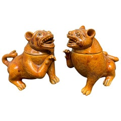 Pair of 19th-20th Century Chinese Amber Glazed Terracotta Foo Dogs with Lids